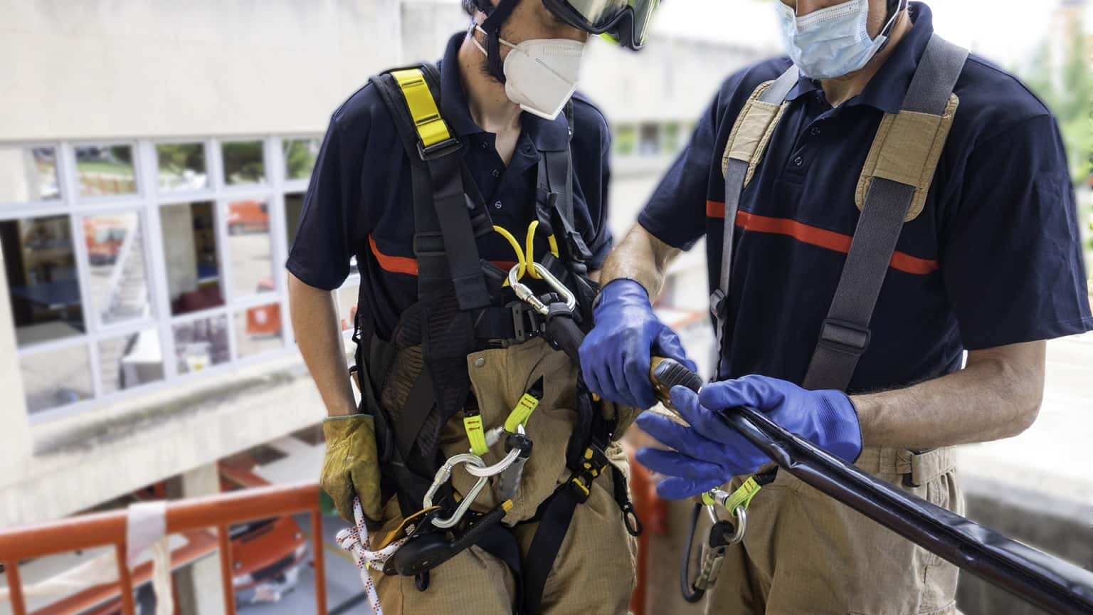 Firefighters in vertical rescue practices during a training exercise.